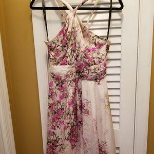 Bebe Summer Romance Blossoms Twist Halter Dress